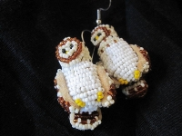 view of the beaded owl earrings