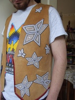 view of star detail of the beaded vest